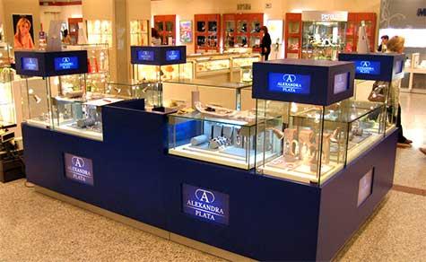 Mostrador con vitrinas para la exposición de joyas y bisuteria